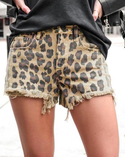 Leopard Cut Out Short Pants Denim Shorts