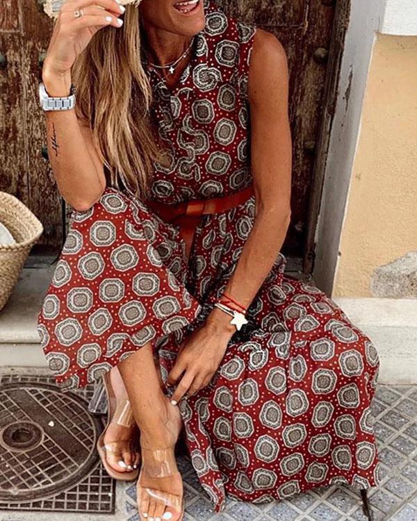 Vintage Boho Sleeveless Dot Print Vacation Maxi Dresses