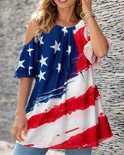 American Flag Printed Cold Shoulder Round Collar Shirts