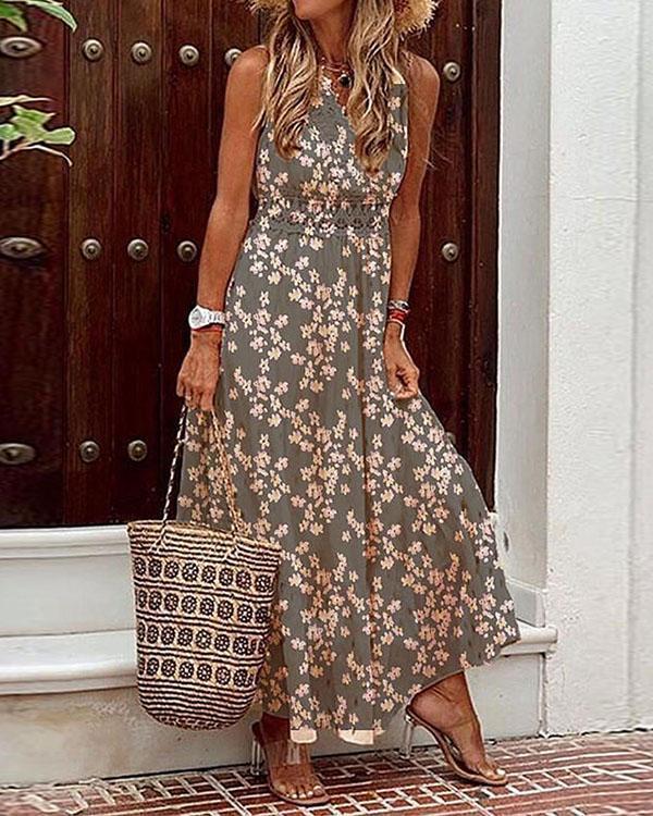 Sleeveless Multiflora Print Vacation Maxi Dresses