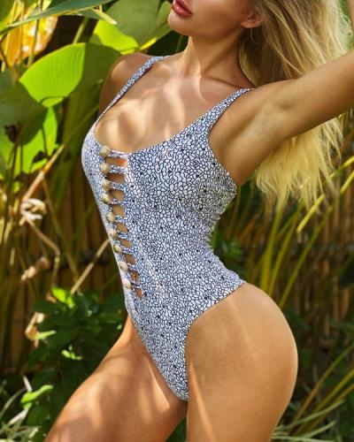 Sexy Printed Buttons One-Piece Bikini Swimsuit