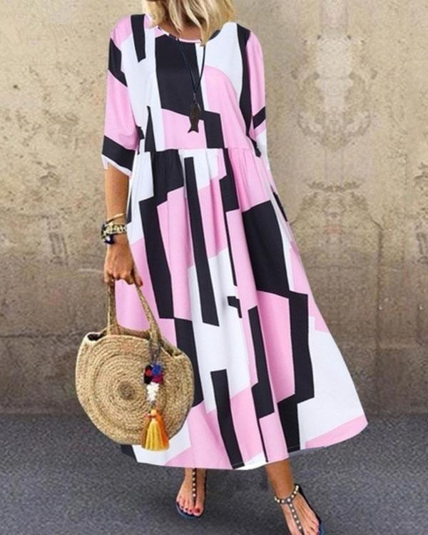 Women Abstract Colorblock Print Princess Dress Maxi Dresses