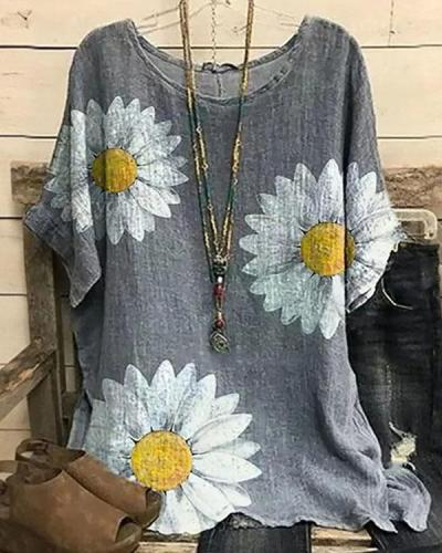 Women's Blouse Daisy Floral Printed Summer Tops