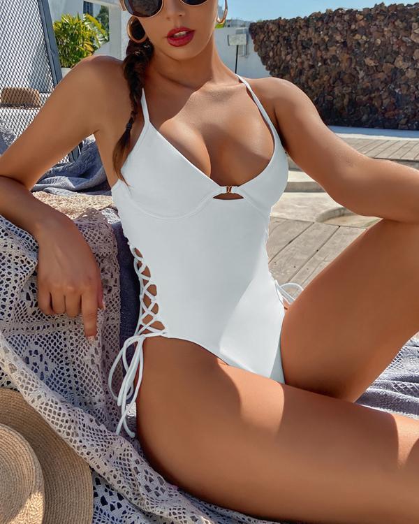 Sexy Solid Color One-Piece Bikini Swimsuit
