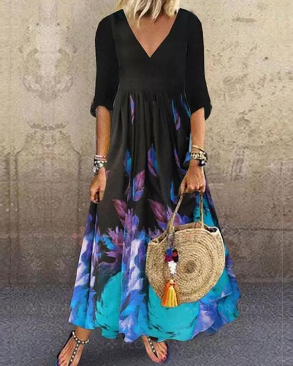 Women Floral Print Half Sleeve Princess Dress Maxi Dresses