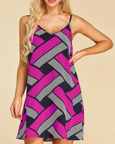 Women Print Sleeveless Mini Dresses