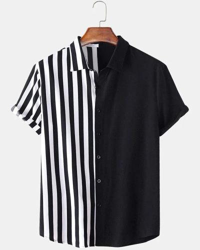 Men Patchwork Stripe Contrast Color Casual Shirt