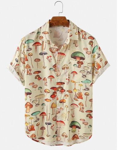 Mens Colorful Element Mushroom Pattern Print Loose Light Short Sleeve Shirts