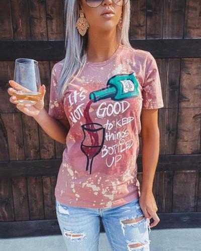 Womens Fashion  Printed Round NeckT-shirt