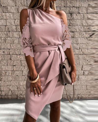 Lace Solid 3/4 Sleeves Sheath Above Knee Elegant Dresses