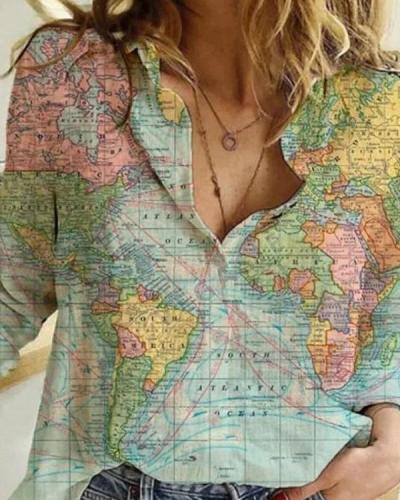 Creative World Globe Map All Over Print T-shirt   Perfect Gift   Adults and Teenagers Unisex T shirt