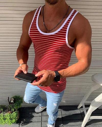 Men's Running Vest Stripe Casual Tank Tops