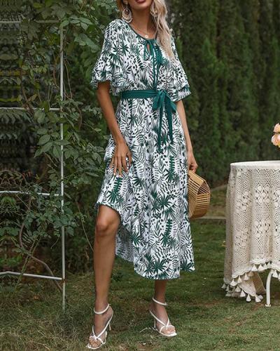 Chiffon Printed V-neck Ruffle Sleeve Lace Up Dress