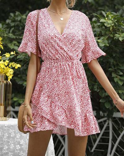 Summer Small Floral Waist V-neck Dress