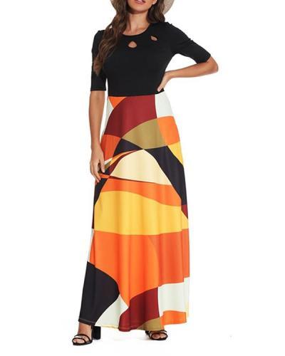 High Waist Color Block Dress