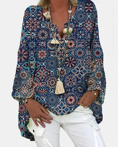 Geometric Printed Long Sleeve V-neck Casual Blosue For Women