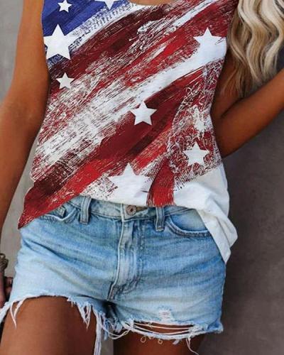 American Flag Crew Neck Print Vest