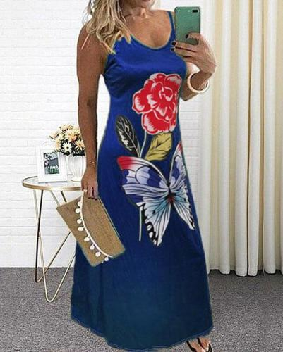 Women Casual Butterfly Floral Print Maxi Dress