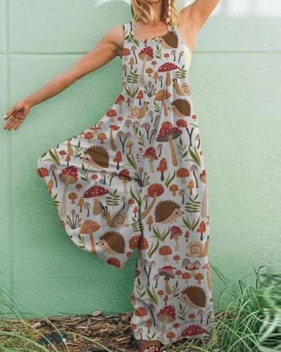 Casual Plus Size Sleeveless Jumpsuit Printed Pantsuit Overalls