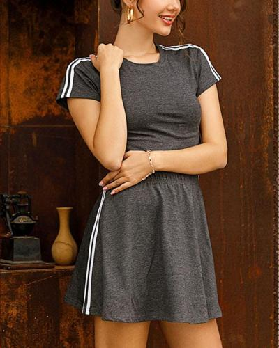 Pure Color Striped Short Sleeve Top Skirt Sports Suit