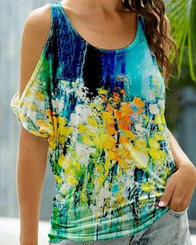 Women's Cold Shoulder Casual Floral Printed Tops