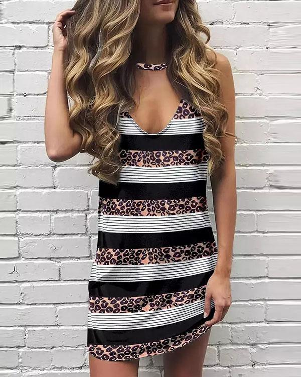 V-neck Leopard Sleeveless Mini Dress