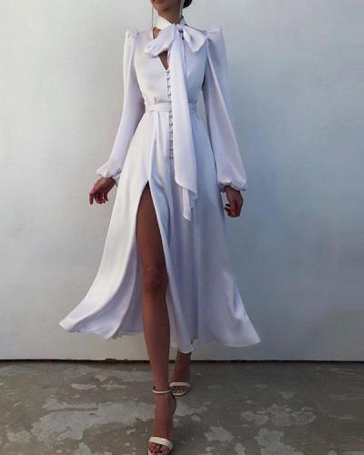 Satin Puff Lantern Sleeve Shirt Dress
