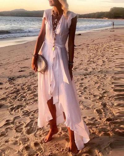 Summer Beach V Neck Women A-Line Fringed Ruffled Drawstring Boho Chiffon Dresses