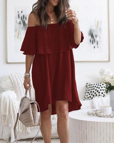 Summer Off Shoulder Ruffle Solid Dresses