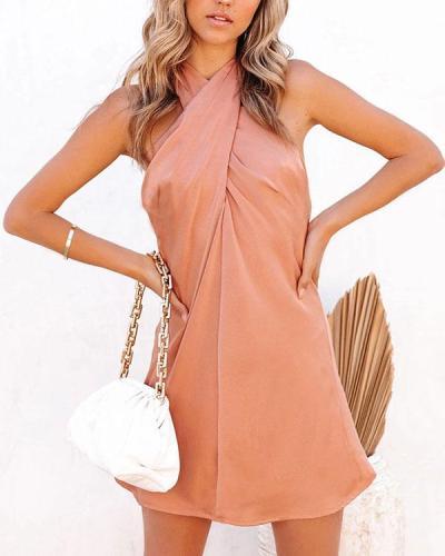 Sexy Halter Neck Pure Color Mini Dress