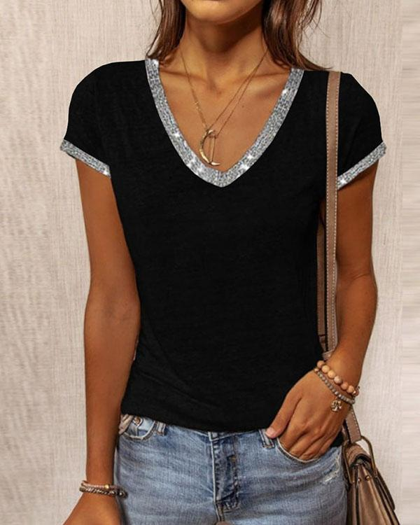 Fashion Contrast V Neck Slim Shirt&Top