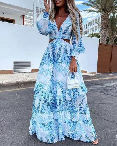 Long Sleeve Print V-Neck Floor-Length Expansion Women's Dress
