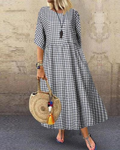 Round Neck Plaid Loose Casual Dress