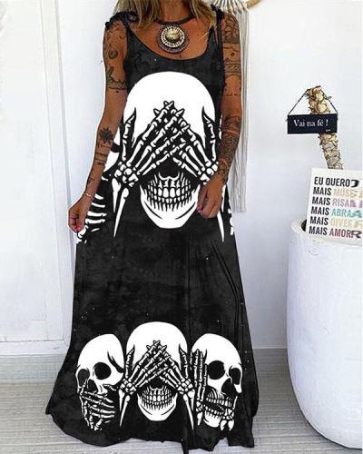Creative Skull Print Lace up Spaghetti-Strap Maxi Dress