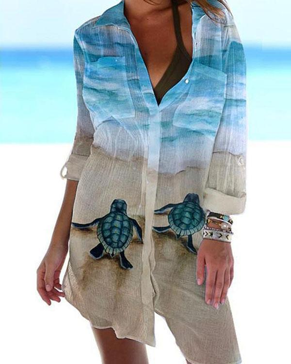 Women Beach Cover Up Button Down Pocket Printed Shirts