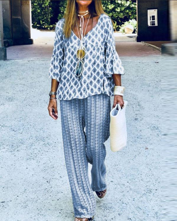 Fashionable Casual Loose Top Pants Suit