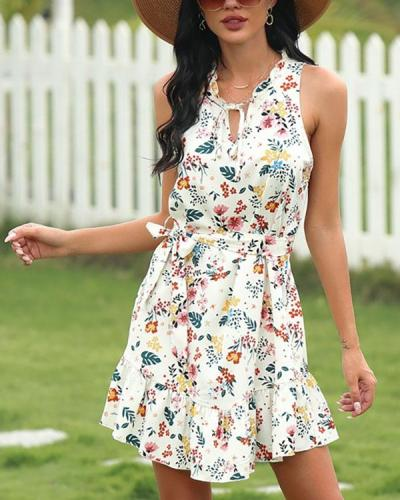 Sleeveless V-neck Small Fresh Floral Dress