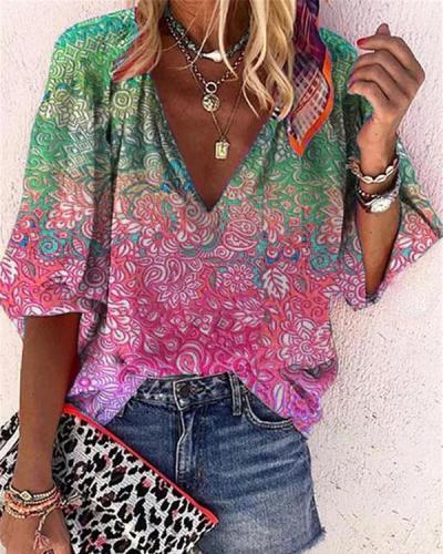 Women's Printed Casual V-Neckline Half Sleeve Blouses