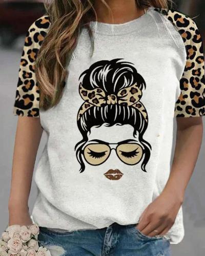 Women's T-shirts Leopard Make-up Portrait T-shirt
