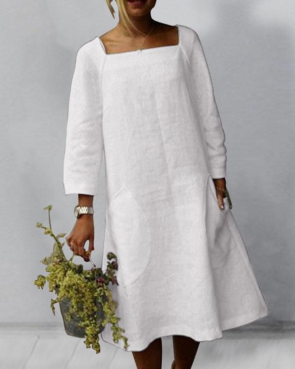 Solid 3/4 Sleeve SquareNeck Linen Midi Dresses