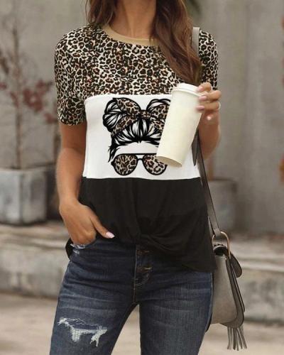 Women's T-shirts Leopard Portrait Print Short Sleeve Round Neck Daily T-shirt