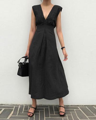 Solid Sleeveless Deep VNeck Fit&Flare Linen Maxi Dresses