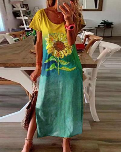 Ombre/tie-Dye Short Sleeve Crew Neck Dresses