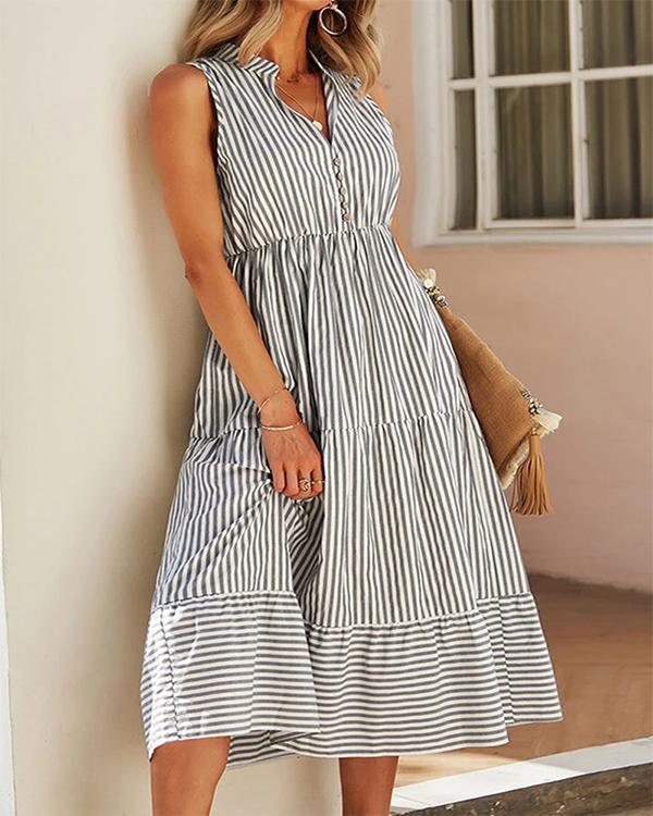 Stripe Print V-neck Button Sleeveless Casual Dress For Women