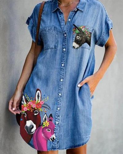 Cartoon Printed Pockets Short Sleeve Casual Denim Dress