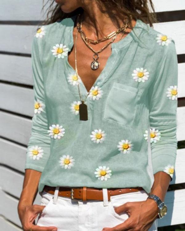 Fashion V-Neckline Daisy Print Blouses