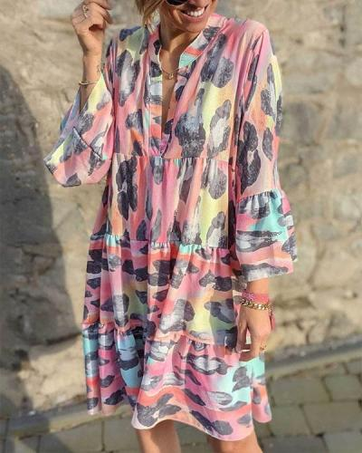 Bohemian Colorful V Neck Ruffle Layer Mini Dress