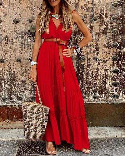 Sexy Vacation V Neck Layer Maxi Dresses Without Belt
