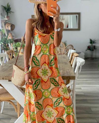 Sexy Spaghetti Strap Vacation Maxi Dresses