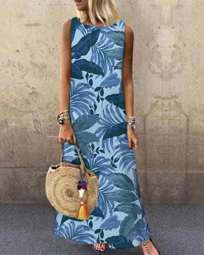 Leaf Printed Sleeveless O-neck Casual Dress